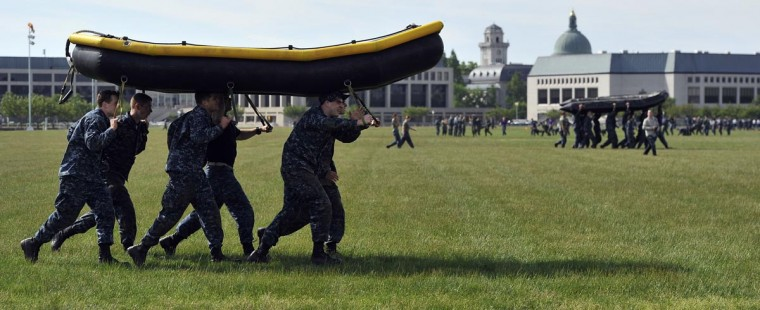 Plebes, fourth class midshipmen, are put through SeaTrials, a physical and mental challenge that promotes teamwork and company and class bonds at the United States Naval Academy. (Kim Hairston/Baltimore Sun)