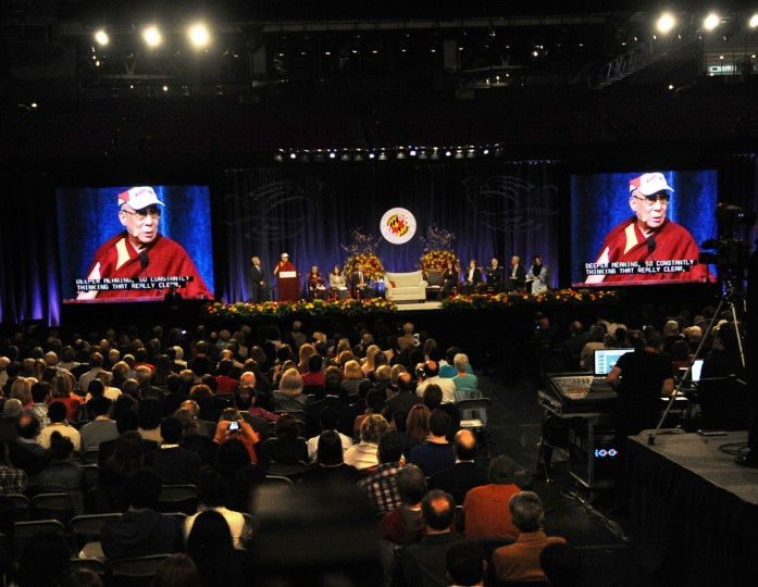 "His Holiness, the 14th Dalai Lama was the guest speaker at the Comcast Center for the Sadat Lecture: ""Peace Through compassion: Connecting a Multi-Faith World."" (Algerina Perna/The Baltimore Sun)"