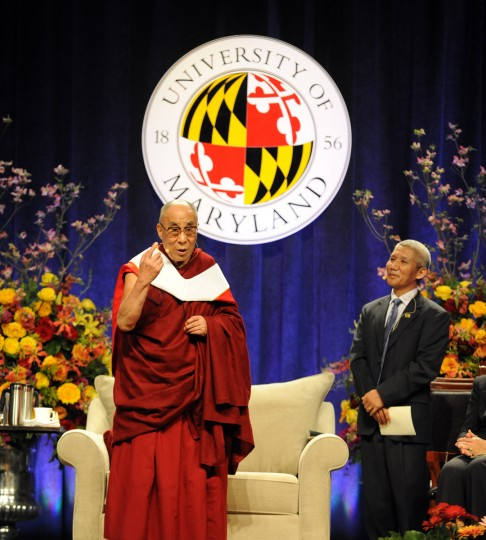"His Holiness, the 14th Dalai Lama gave the lecture at the Comcast Center for the Sadat Lecture: ""Peace Through compassion: Connecting a Multi-Faith World."" He also received an honorary doctorate, and answered questions after the lecture. At right is his translator. (Algerina Perna/The Baltimore Sun)"