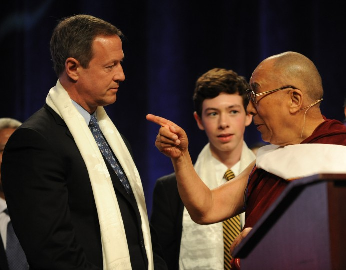 "His Holiness, the 14th Dalai Lama talks to Gov. Martin O'Malley after the Dalai Lama's speech at the Comcast Center for the Sadat Lecture: ""Peace Through compassion: Connecting a Multi-Faith World."" (Algerina Perna/The Baltimore Sun)"