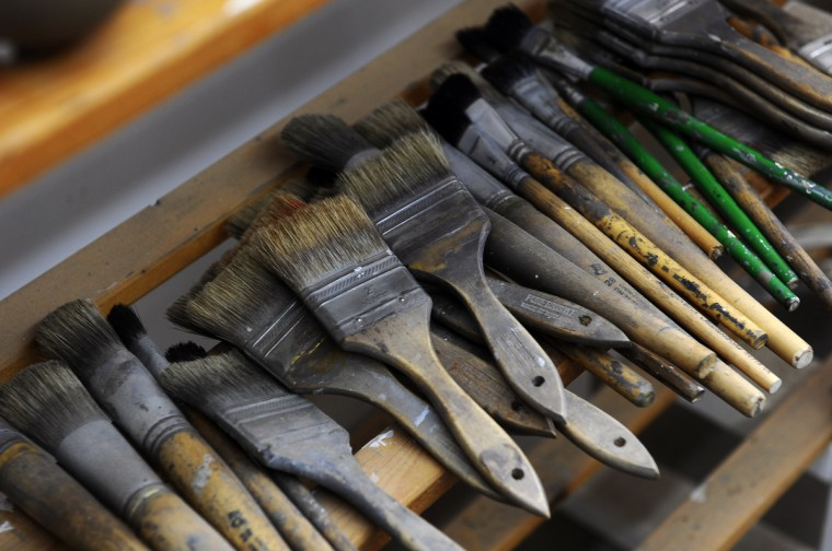 A variety of paint brushes used by duck decoy maker Bryon Bodt. (Kenneth K. Lam/Baltimore Sun)