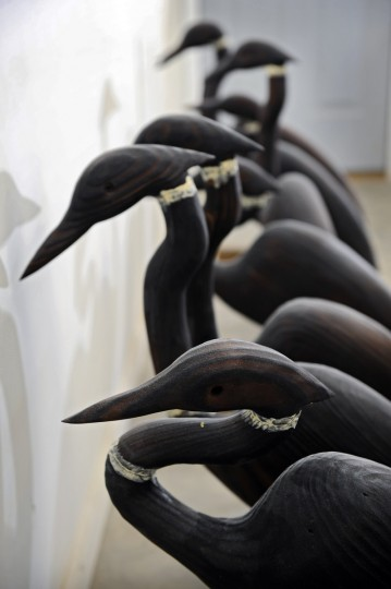 Heron decoys made by artist Bryon Bodt. (Kenneth K. Lam/Baltimore Sun)