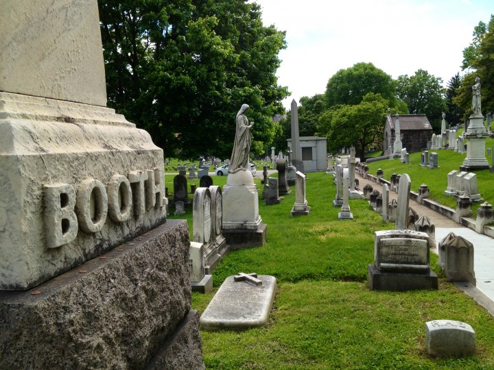 The grave marker of Junius Booth, buried with Mary Ann his wife, rests in the Dogwood area of Greenwood Cemetery. (Karl Merton Ferron/staff)
