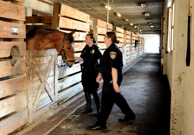 Officer Jenny Folk, left, and hostler Nicole Flanary are pictured in the stables with one of the horses. (Algerina Perna/Baltimore Sun)