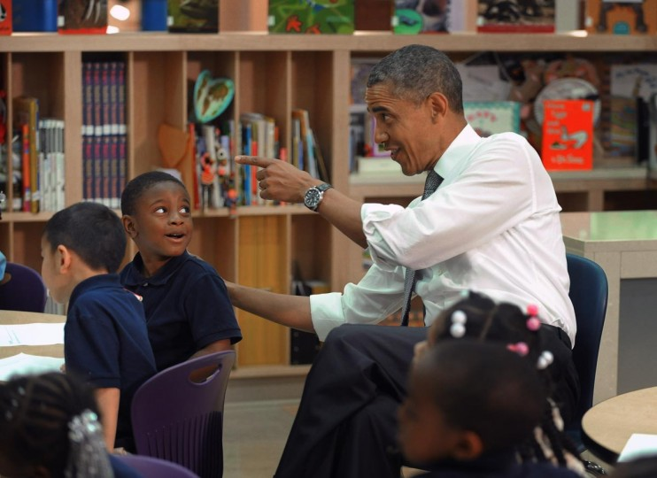 President Barak Obama is in Baltimore for his second Middle Class Jobs and Opportunity Tour May 17, 2013. During his visit, he met with pre-kindergarden students at Moravia Park Elementary School. (Kenneth K. Lam/Baltimore Sun)