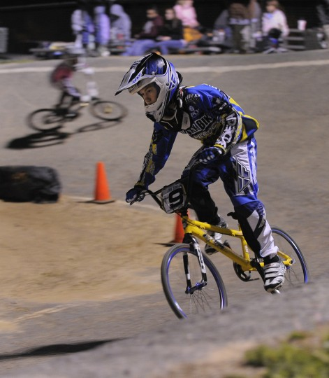 Tyler Flick, from Manheim, Pa., leads the way around one of the two banked turns that make up part of the Chesapeake BMX race track. (Gene Sweeney Jr./Baltimore Sun Photo)