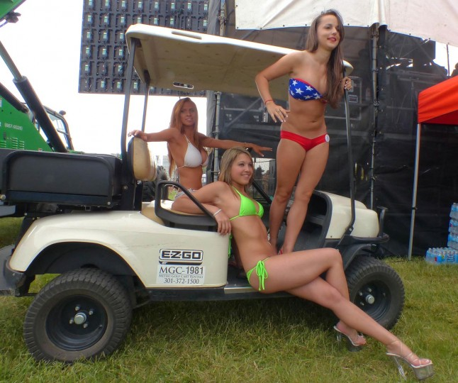 Contestants pose on a golf cart during the annual bikini contest at Pimlico Race Course on Preakness Day Saturday, May. 18, 2013. (Karl Merton Ferron/Baltimore Sun)