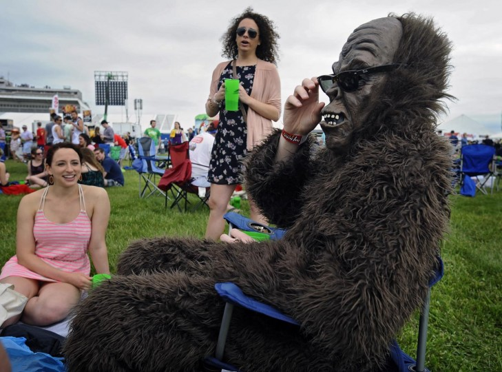 Dylan McLaughlin, of Baltimore, came to the Infield at the 138th Preakness dressed as a gorilla. (Kenneth K. Lam/Baltimore Sun)