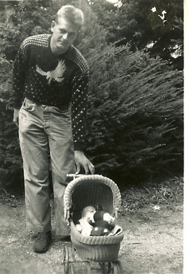 Moore poses with an infant relative in 1949. (Handout photo)