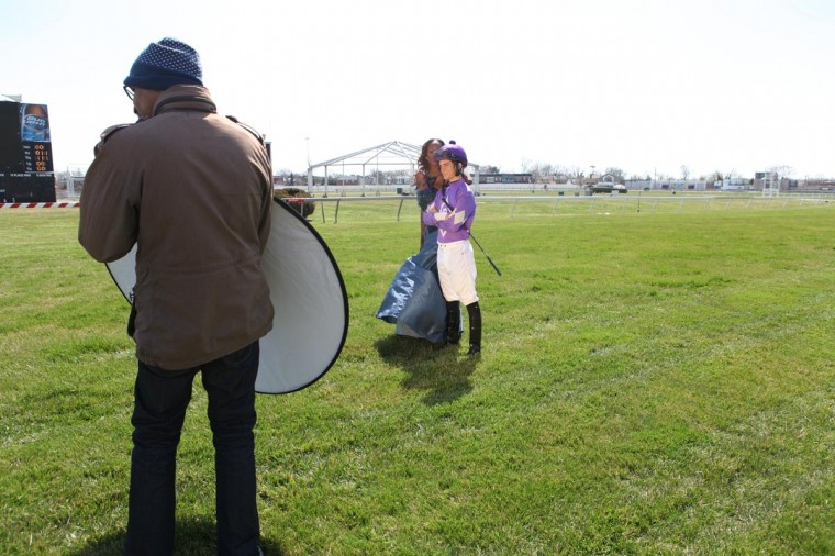Behind-the-scenes at the Preakness-inspired Sun fashion shoot at Pimlico. (Stokely Baksh/Baltimore Sun)