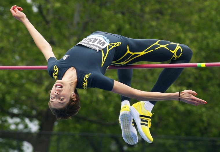Blanka Vlasic of Croatia clears the bar at 1.94 meters to win the women's high jump at the Diamond League Adidas Grand Prix in New York, May 25, 2013. (Gary Hershorn/Reuters)
