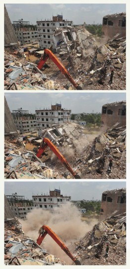 A combination photo shows the remaining standing part of the collapsed Rana Plaza building collapsing during a rescue operation by the army in Savar. (Khurshed Rinku/Reuters photo)