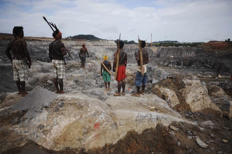 Amazon Indians occupy the main construction site of the Belo Monte hydroelectric dam in Vitoria do Xingu, near Altamira in Para State, May 27, 2013. Indians from various tribes returned to force the suspension for the second time in a month, of the dam projected to become the world's third largest in energy production, opposing it for its impact on the environment and their livelihoods. (Lunae Parracho/Reuters)