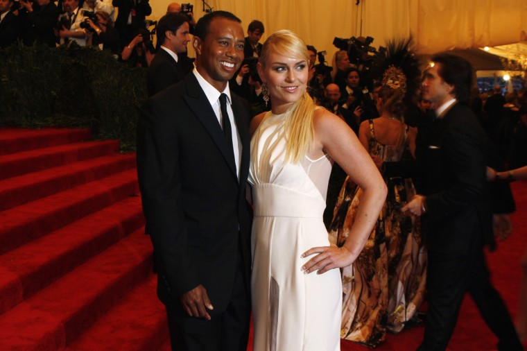 "Golfer Tiger Woods arrives with skier Lindsey Vonn at the Metropolitan Museum of Art Costume Institute Benefit celebrating the opening of ""PUNK: Chaos to Couture"" in New York, May 6, 2013. (Larry Busacca/Getty Images)"
