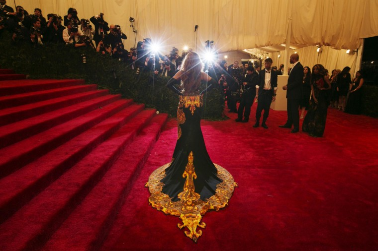 "Singer Beyonce arrives at the Metropolitan Museum of Art Costume Institute Benefit celebrating the opening of ""PUNK: Chaos to Couture"" in New York, May 6, 2013. (Larry Busacca/Getty Images)"