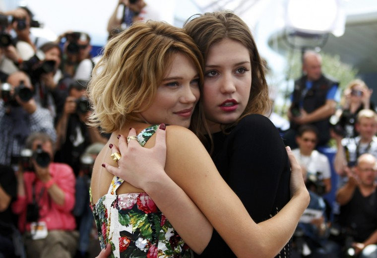 "Cast members Lea Seydoux (L) and Adele Exarchopoulos pose during a photocall for the film ""La Vie D'Adele"" at the 66th Cannes Film Festival in Cannes. (Eric Gaillard/Reuters photo)"