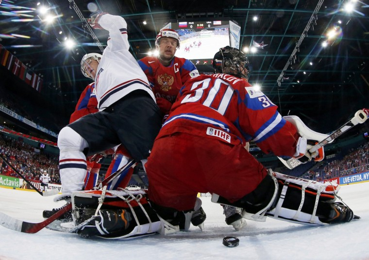 Russia's goalie Ilya Bryzgalov (30) reacts as he conceeds a Team USA goal during their 2013 IIHF Ice Hockey World Championship quarter-final match at the Hartwall Arena in Helsinki. (Grigory Dukor/Reuters photo)