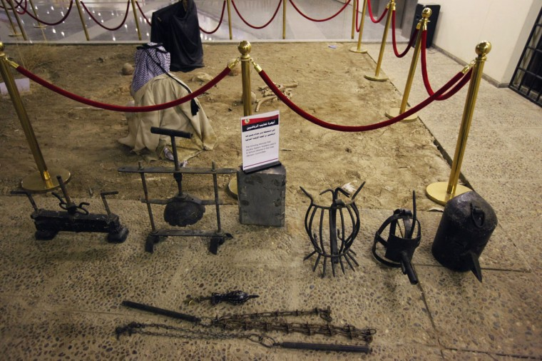 A view of torture devices, that were used by the regime of Iraq's ousted leader Saddam Hussein, at an exhibition gallery at the Martyrs Monument in Baghdad. The monument, also known as the al-Shaheed Monument, was built during Saddam Hussein's reign and is dedicated to Iraqi soldiers who died in the Iran-Iraq war. (Thaier al-Sudani/Reuters)
