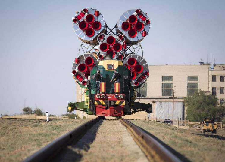 The Soyuz TMA-09M spacecraft is transported to its launch pad at Baikonur cosmodrome May 26, 2013. Soyuz with U.S. astronaut Karen Nyber, Italian astronaut Luca Parmitano and Russian cosmonaut Fyodor Yurchikhin is due to travel to the International Space Station on May 29. (Shamil Zhumatov /Reuters)