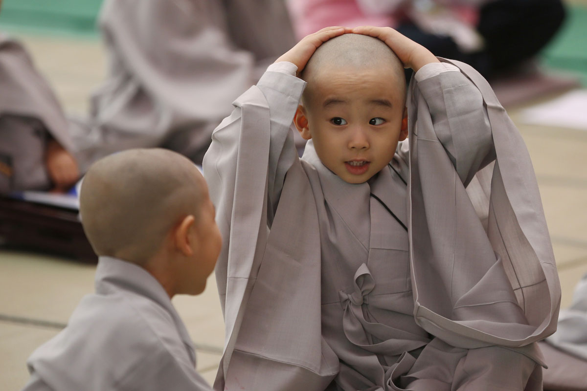 Monks shaved head