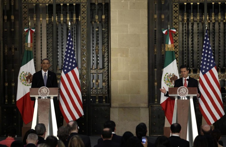 U.S. President Barack Obama (L) and Mexico's President Enrique Pena Nieto speak during a news conference after attending a bilateral meeting at the National Palace in Mexico City May 2, 2013. (Henry Romero/Reuters)