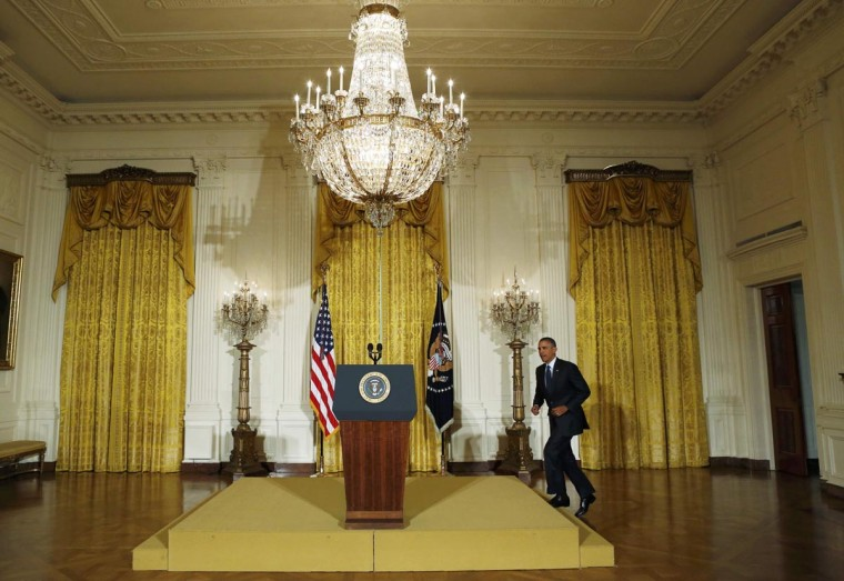 U.S. President Barack Obama makes arrives to deliver a statement from the East Room of the White House in Washington, May 15, 2013. The president announced he the acting IRS Commissioner Steven Miller had resigned in the wake of growing scandal involving the agency. (Kevin Lamarque/Reuters)