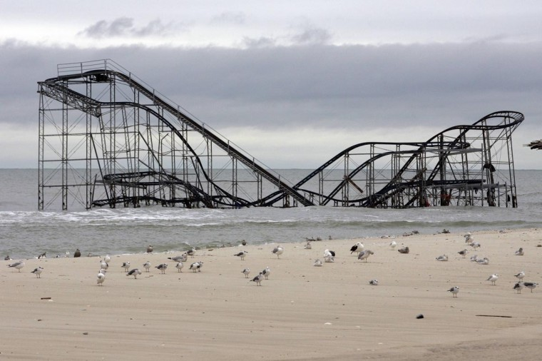 The extensive damage to an amusement park roller coaster in the aftermath of Hurricane Sandy is seen in Seaside Heights, New Jersey, November 13, 2012. (Tom Mihalek/Reuters)