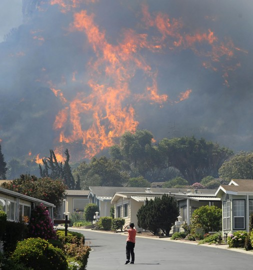 A resident looks at flames racing across hills as a raging brush fire pushes towards the coast in Camarillo May 2, 2013. The wind-driven wildfire raging along the California coast north of Los Angeles prompted the evacuation of hundreds of homes and a university campus on Thursday as flames engulfed several farm buildings and recreational vehicles near threatened neighborhoods. (Gene Blevins/Reuters)