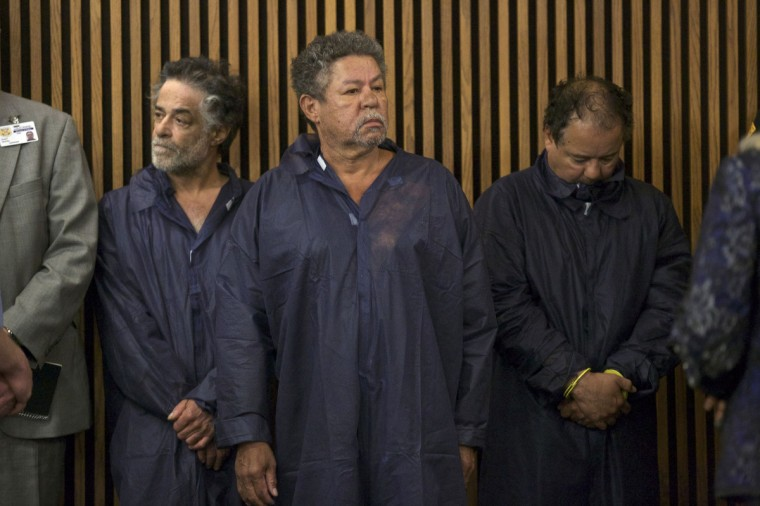 Ariel Castro (R), Pedro Castro (C) and Onil Castro appear in court in Cleveland, Ohio. Ariel Castro, 52, a veteran school bus driver fired from his job last fall, was formally charged with kidnapping and raping the three women, who were rescued from his house on May 6 evening shortly before his arrest. (John Gress/Reuters photo)