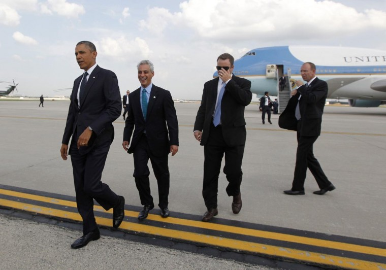 U.S. President Barack Obama and Chicago Mayor Rahm Emanuel (2nd L) walk on the tarmac of Chicago's O'Hare Airport May 29, 2013. Obama traveled to Chicago on Wednesday to attend Democratic party fundraisers. (Jason Reed/Reuters)