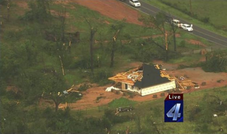 An aerial view of the damage in the aftermath of tornadoes that touched down just outside of Wellston, Oklahoma, May 19, 2013, in this still image provided by KFOR-TV. (KFOR/via Reuters)