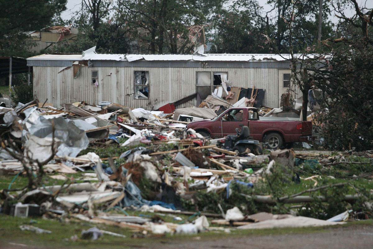 Debris Is Seen At A Mobile Home Park Which Was Destroyed By Tornado On Sunday West Of Shawnee Oklahoma