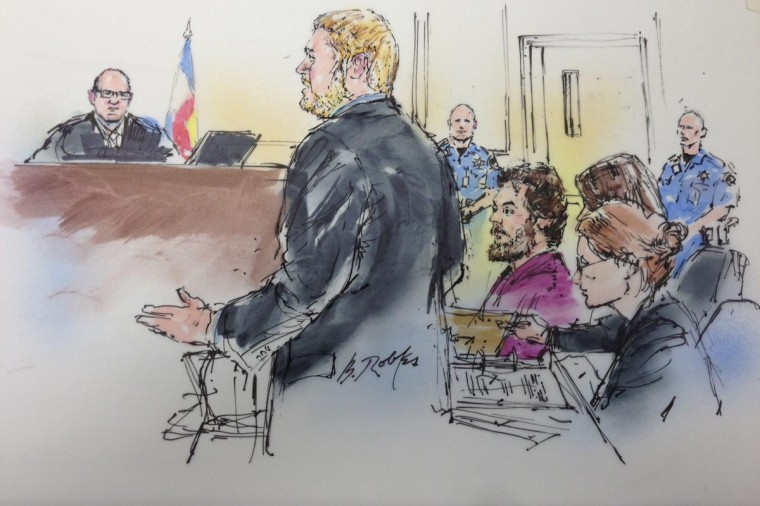 "Accused movie theater gunman, James Holmes (2nd from R) is shown in this courtroom artist sketch listening to his legal team during hearing in Centennial, Colorado May 13, 2013. A Colorado judge found ""good cause"" to allow Holmes, who could face the death penalty if convicted of murdering 12 moviegoers last year, to change his plea to not guilty by reason of insanity. (Bill Robles/Reuters)"
