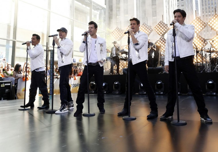 Members of 'New Kids on the Block' (L-R) Danny Wood Donnie Wahlberg, Jordan Knight, Joey McIntyre and Jonathan Knight perform together during an appearance on NBC's 'Today' show in New York. (Brendan McDermid/Reuters)