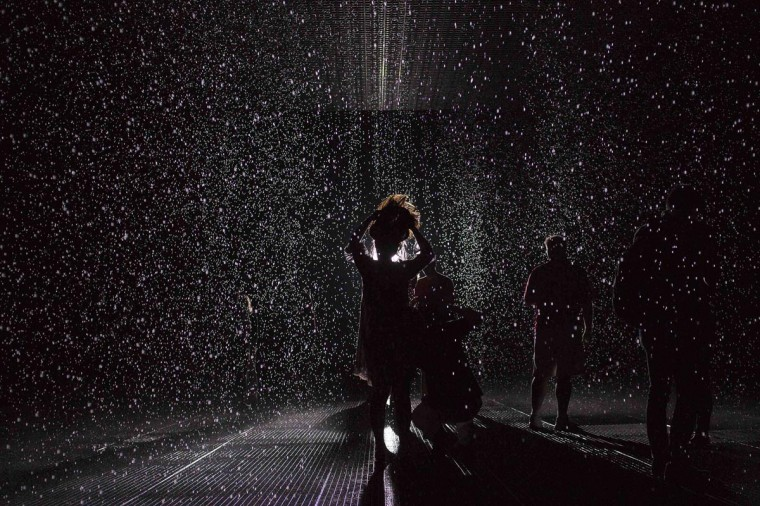People stand in the new Rain Room installation at the Museum of Modern Art (MoMA) in New York May 17, 2013. The 5,000 square-foot installation created by Random International features a field of falling water that stops in the area where people walk through, which allows them to remain dry. (Shannon Stapleton/Reuters)