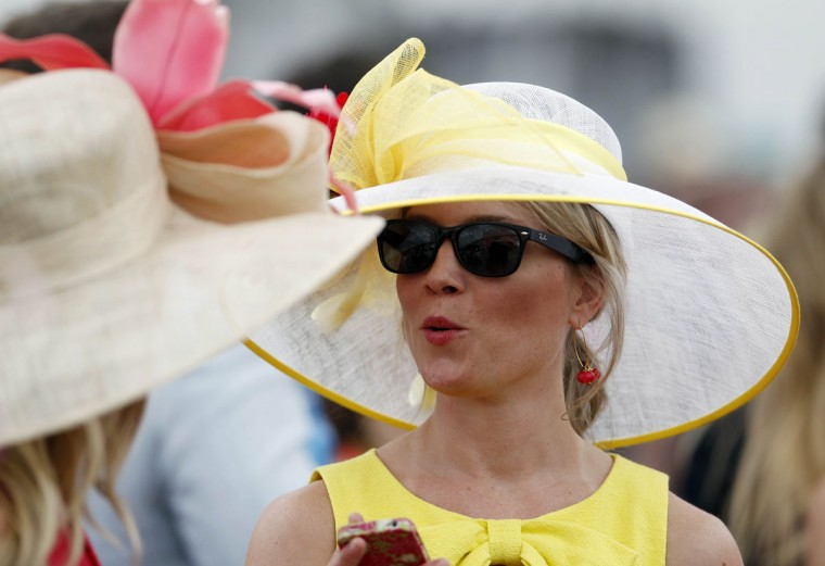 Sherry Rukavina wears a traditional Derby hat before the 2013 Kentucky Oaks at Churchill Downs in Louisville, Kentucky on May 3. (Mark Zerof/USA TODAY Sports)