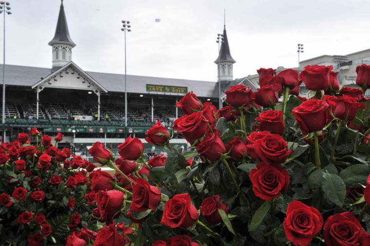A general view of roses in the winner's circle before the 2013 Kentucky Derby at Churchill Downs in Louisville, Kentucky. (Jamie Rhodes/USA TODAY Sports)