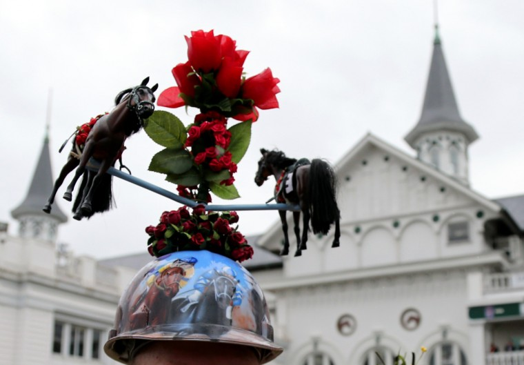 A detailed view of the hat of Skip Koepnick before the 2013 Kentucky Derby at Churchill Downs in Louisville, Kentucky. (Jerry Lai/USA TODAY Sports)