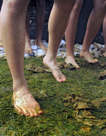 Plebes used their clothing down to their socks to help wipe the lard away during the climbing of the greased Herndon Monument. (Karl Merton Ferron/Baltimore Sun)