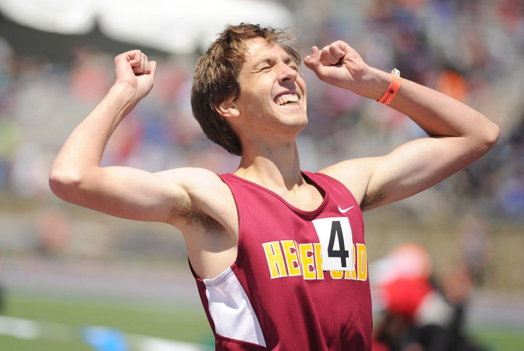 Jon Luckin of Hereford reacts to winning the 3A boys 1600 meter run during the Maryland state track and field championships at Morgan State University in Baltimore on Saturday, May 25, 2013. (Brian Krista/BSMG)