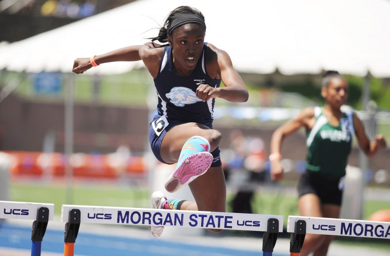 Christine London of Howard clears a hurdle in the girls 3A girls 300 meter hurdles during the Maryland state track and field championships at Morgan State University in Baltimore on Saturday, May 25, 2013. (Brian Krista/BSMG)