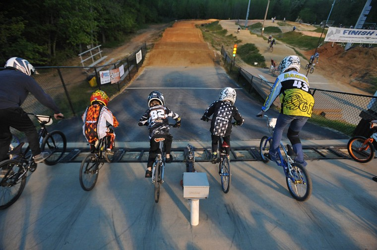 The gate drops and the riders head down a steep ramp to the course at the Chesapeake BMX track in Severn, Md. (Gene Sweeney Jr./Baltimore Sun Photo)