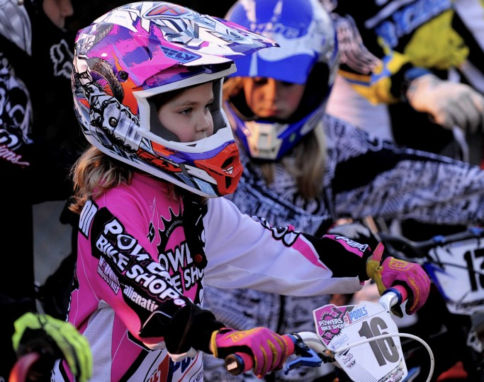 Racer Ava Yockelson studies the starting gate before her turn on at the Chesapeake BMX track in Severn, Md. (Gene Sweeney Jr./Baltimore Sun Photo)