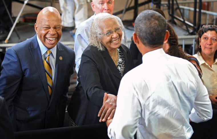 President Obama, right, greets Ruth Cummings, center, the mother of Rep. Elijah Cummings, left, of Md.'s 7th congressional district after delivering remarks to Ellicott Dredges employees and vendors. (Kenneth K. Lam/Baltimore Sun)