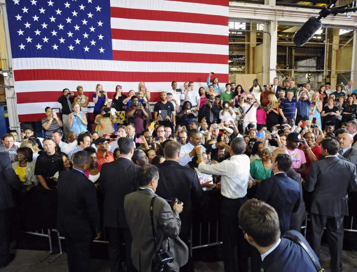 President Obama, center, shakes hand with Ellicott Dredges employees and vendors after delivering remarks. (Kenneth K. Lam/Baltimore Sun)