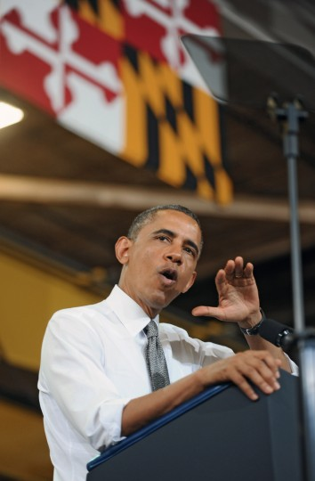President Obama delivers remarks to Ellicott Dredges employees and vendors. (Kenneth K. Lam/Baltimore Sun)