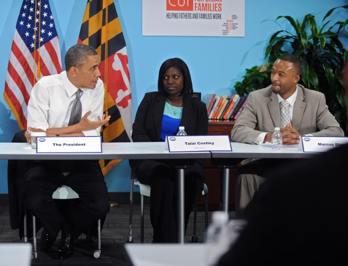 President Barak Obama, left, sits down for a roundtable discussion with Talai Costley, Marcus Dixon and others at the Center for Urban Families' STRIVE Baltimore Employment Training and Career Advancement programs, while in Baltimore for his second Middle Class Jobs and Opportunity Tour. (Kenneth K. Lam/Baltimore Sun)