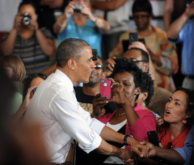 President Obama greets supporters before delivering remarks to Ellicott Dredges employees and vendors. (Kenneth K. Lam/Baltimore Sun)