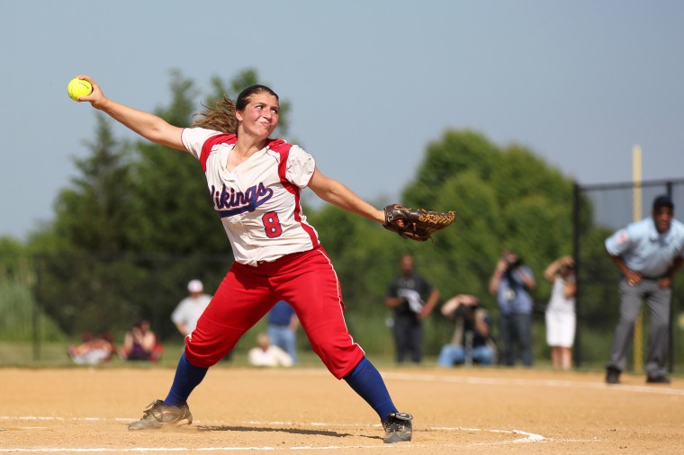 Lansdowne's Audrey Melcher pitches during the Class 2A softball state semifinal against Catoctin at Bachman Park in Glen Burnie on Tuesday, May 21, 2013. (Jen Rynda/BSMG)