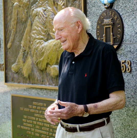 Tom Sheehan, a Korean War veteran and North County resident, stands in front of a veteran's memorial at Dulaney Valley Memorial Gardens in Timonium on Tuesday, May 21, 2013.